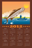 Fishing Poster Calendar 2012 Tarpon Fish. Poster calendar 2012 showing tarpon fish jumping with fisherman fishing on boat done in retro style royalty free illustration