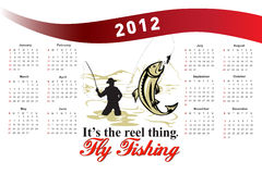 Fishing Poster Calendar 2012 Trout Fish. Poster calendar 2012 showing Trout Fish jumping with fly fisherman fishing done in retro style with words its the reel stock illustration