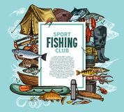 Fishing poster with fish catch and fisherman tool. Fishing sport club poster with fish catch and fisherman tool sketch frame. Fishing rod, boat and tackle, hook Stock Photo