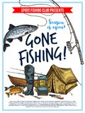 Fishing poster with fish and fisherman equipment. Gone fishing poster with fish, fisherman equipment and tackle sketch. Fish on hook of fishing rod, boat and Royalty Free Stock Photo