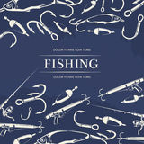 Fishing poster with hook, fishing rod. And gun and fish. Vector illustration Stock Photo