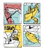 Fishing poster set. Fishing club poster illustration set. Comic style Royalty Free Stock Photography