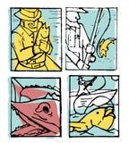 Fishing poster set. Fishing club poster illustration set. Comic style Stock Photo