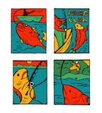 Fishing poster set. Fishing club poster illustration set. Comic style Stock Photography