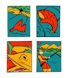 Fishing poster set. Fishing club poster illustration set. Comic style Royalty Free Stock Image