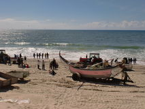 Fishing on the Praia de Vieira, Portugal. Fishermen in the course of work on the shore Royalty Free Stock Images