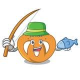Fishing pretzel mascot cartoon style. Vector illustration Royalty Free Stock Photos
