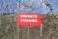 Fishing private sign at lake. Uk stock photo