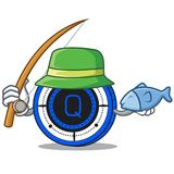 Fishing Qash coin mascot cartoon. Vector illustration Royalty Free Stock Photography