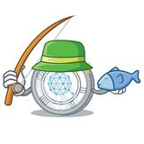 Fishing Qtum coin character cartoon. Vector illustration Stock Images