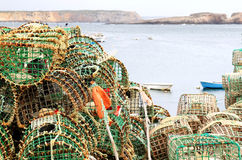 Fishing racks in the harbour of Sagres, Portugal Stock Photos