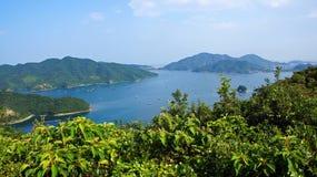 Fishing rafts in Uchinoumi sea in Japan Royalty Free Stock Image