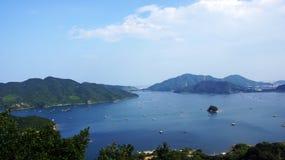 Fishing rafts in Uchinoumi sea in Japan Royalty Free Stock Images