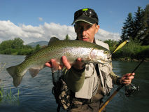 Fishing - rainbow trout Royalty Free Stock Photography