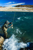 Fishing for rainbow trout Royalty Free Stock Photography