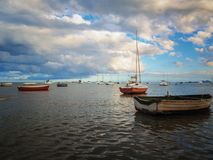 fishing and recreation boats in the Mar Menor with La Manga stock photography