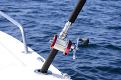 Fishing reel. On a boat Stock Photos