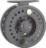 Fishing reel. A closeup of a fly fishing reel on white background royalty free stock photo