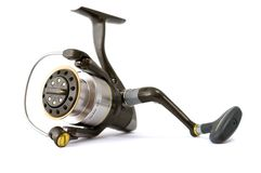 Fishing reel. Isolated fishing reel on white background Stock Photography