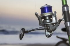 Fishing reel, close up stock images