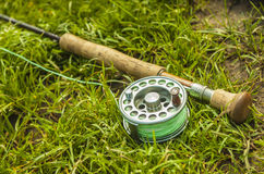 Fishing reel and rod Stock Photos