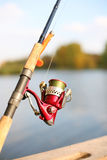 A fishing reel and a silicon lure Stock Image