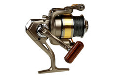 Fishing reel. With thread close up isolated on white background Royalty Free Stock Image
