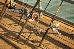Fishing Reels on the Dock Royalty Free Stock Photos
