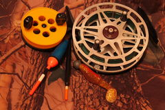 Fishing reels with floats and jig Royalty Free Stock Images