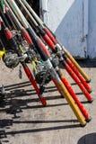 Fishing reels at the ready Royalty Free Stock Photos