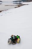 Fishing reels set close up  on white snow Stock Image