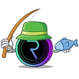 Fishing request network coin mascot cartoon. Vector illustration Stock Photo