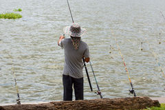 Fishing on the reservoir Stock Photos