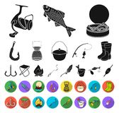 Fishing and rest black,flat icons in set collection for design. Tackle for fishing vector symbol stock web illustration. Fishing and rest black,flat icons in stock illustration