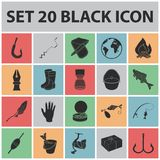 Fishing and rest black icons in set collection for design. Tackle for fishing vector symbol stock web illustration. Fishing and rest black icons in set Stock Image