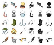 Fishing and rest cartoon,black icons in set collection for design. Tackle for fishing vector symbol stock web. Fishing and rest cartoon,black icons in set stock illustration