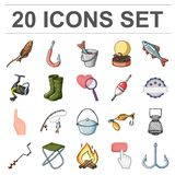 Fishing and rest cartoon icons in set collection for design. Tackle for fishing vector symbol stock web illustration. Fishing and rest cartoon icons in set Stock Images