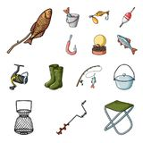 Fishing and rest cartoon icons in set collection for design. Tackle for fishing vector symbol stock web illustration. Fishing and rest cartoon icons in set Stock Image