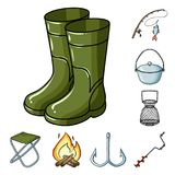 Fishing and rest cartoon icons in set collection for design. Tackle for fishing vector symbol stock web illustration. Fishing and rest cartoon icons in set Stock Photography