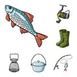 Fishing and rest cartoon icons in set collection for design. Tackle for fishing vector symbol stock web illustration. Fishing and rest cartoon icons in set Royalty Free Stock Image
