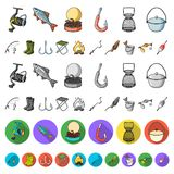Fishing and rest cartoon icons in set collection for design. Tackle for fishing vector symbol stock web illustration. Fishing and rest cartoon icons in set stock illustration