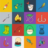 Fishing and rest cartoon icons in set collection for design. Tackle for fishing vector symbol stock web illustration. Fishing and rest cartoon icons in set royalty free illustration