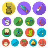 Fishing and rest flat icons in set collection for design.. Tackle for fishing vector symbol stock  illustration Royalty Free Stock Photos