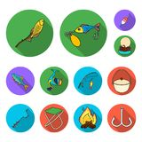 Fishing and rest flat icons in set collection for design. Tackle for fishing vector symbol stock web illustration. Fishing and rest flat icons in set collection Royalty Free Stock Photos