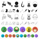 Fishing and rest flat icons in set collection for design. Tackle for fishing vector symbol stock web illustration. Fishing and rest flat icons in set collection vector illustration