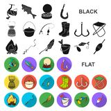Fishing and rest flat icons in set collection for design. Tackle for fishing vector symbol stock web illustration. Fishing and rest flat icons in set collection stock illustration