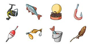 Fishing and rest icons in set collection for design. Tackle for fishing vector symbol stock web illustration. Fishing and rest icons in set collection for royalty free illustration