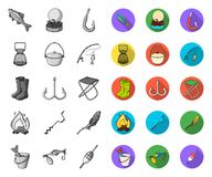 Fishing and rest mono,flat icons in set collection for design. Tackle for fishing vector symbol stock web illustration. Fishing and rest mono,flat icons in set royalty free illustration