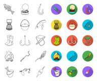 Fishing and rest outline,flat icons in set collection for design. Tackle for fishing vector symbol stock web. Fishing and rest outline,flat icons in set royalty free illustration