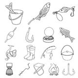 Fishing and rest outline icons in set collection for design. Tackle for fishing vector symbol stock web illustration. Fishing and rest outline icons in set Stock Image